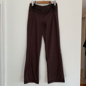 lululemon Yoga Pants Ruche Waist Wide Leg Brown Print Sz8